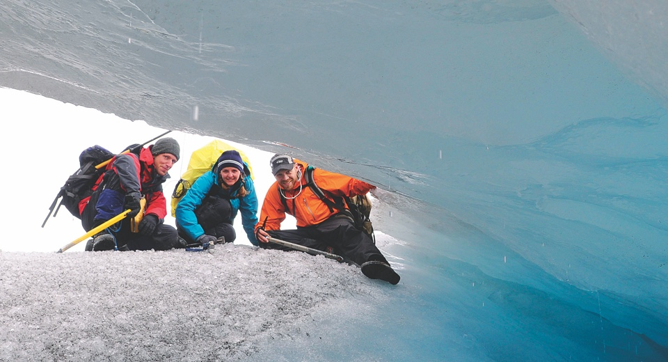 students studying a glacier